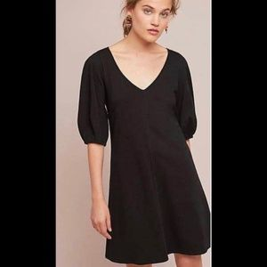 NWT LBD Anthropologie Black Front Seamed Dress SP